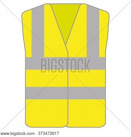 Hi Vis Vest Jacket Neon Yellow Icon Vector