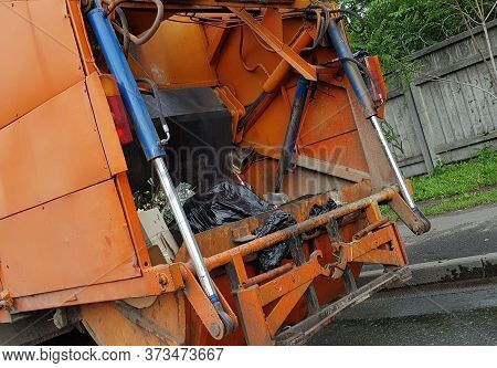 Garbage Truck Garbage Truck With Garbage Close-up.
