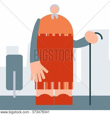 Old Lady Isolated Primitive Design Style Vector Illustration