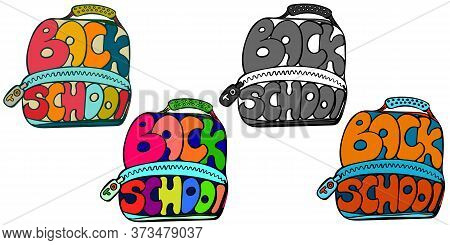 Back To School Lettering In Shape Of Backpack And Designed With Four Color Palettes, Vector Elements