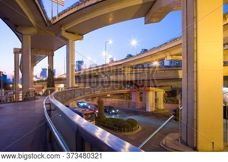 Elevated Freeways In The Intersection Of Yan An Road And Chongging, Shanghai, China, Asia