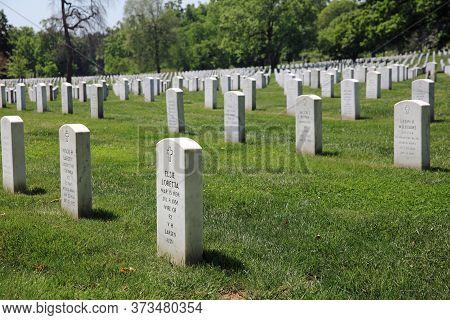 Arlington, Va, Usa - May 02, 2019: Rows Of Tombstones At Arlington National Cemetery. Virginia. Usa