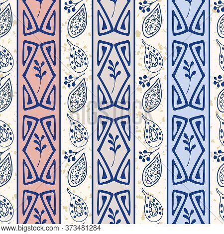 Abstract Aztec And Paisley Seamless Vector Pattern Background. Striped Backdrop With Inky Blue Hand