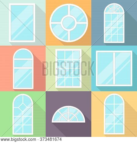 Window. Set Of Cartoony Colored Windows With Shadows. Vector Illustration.