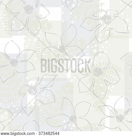 Vector Flowers Outlines In Gray With Green Abstract Ferns On White Gray Gold Background Seamless Rep