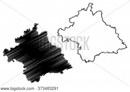 Nanning City (people's Republic Of China, Guangxi Province) Map Vector Illustration, Scribble Sketch