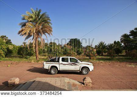 Nile River / Sudan - 23 Feb 2017: The Car In The Small Village On Nile River, Sudan
