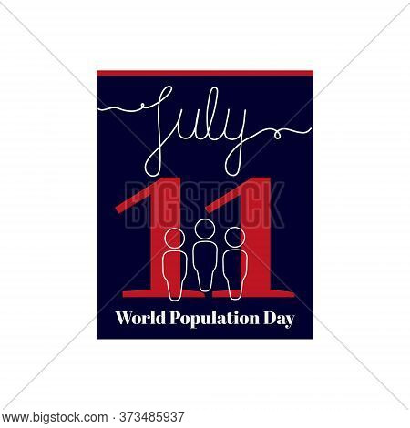 Calendar Sheet, Vector Illustration On The Theme Of World Population Day On July 11. Decorated With