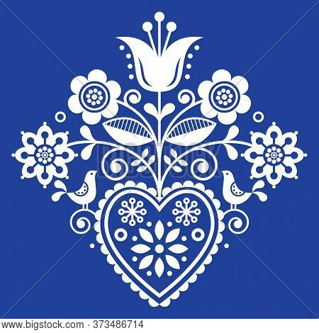 Scandinavian Retro Folk Art Floral, Vector Design In White On Navy Blue, Nordic Pattern With Birds A