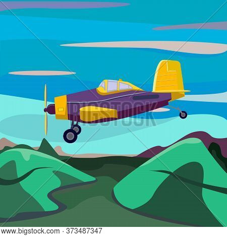 Cartoon Cute Plane Is Coming In To Land. Airplane Front View. Runway. Sunset. Vector Illustration.ve