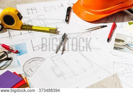Architectural Project, Blueprints, Blueprint Rolls, Ruler And Pencil. Construction Background.