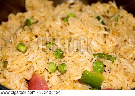 Homemade Chinese Fried Rice With Vegetables, Veg Schezwan Fried Rice, Peas, Peppers, Green Beans, Ca