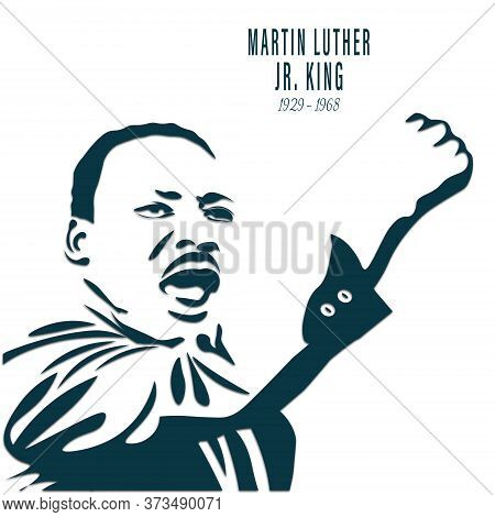 Martin Luther King Jr. Day Greeting Card Background. Martin Luther Jr. King Portrait