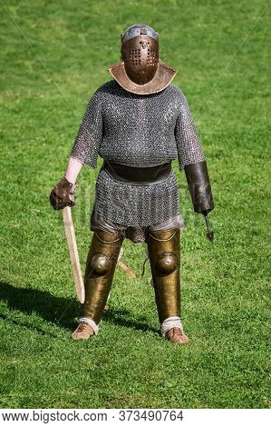 Gladiator Of The Roman Empire Posing During The Festival Roman Apulum