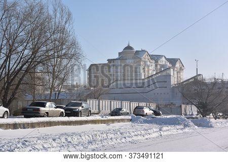 Omsk, Russia - January 31, 2017: Street Naberezhnaya Tukhachevskogo, Omsk, Siberian Region, Russia