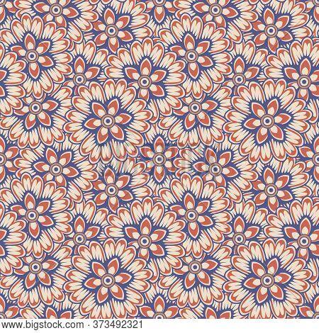 Retro Vintage Chinese Traditional Pattern Seamless Background Botanic Garden Elegant Flower Kaleidos