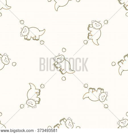 Seamless Background Triceratops With Footprint Dinosaur Gender Neutral Baby Pattern. Simple Whimsica
