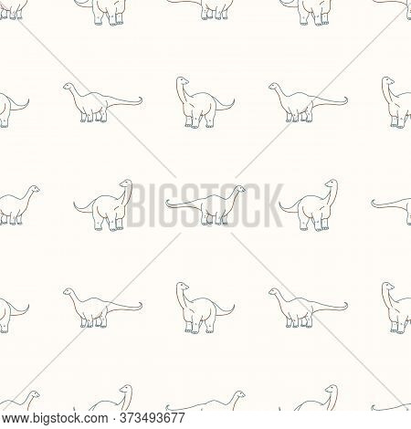 Seamless Background Two Apatosaurus Dinosaur Gender Neutral Pattern. Whimsical Minimal Earthy 2 Tone