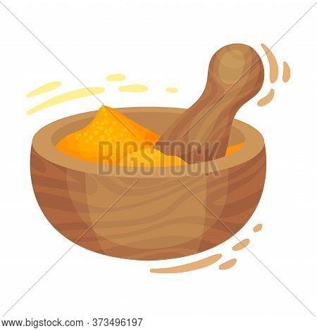 Powdered Dried Turmeric Root In Wooden Bowl With Pestle Vector Illustration