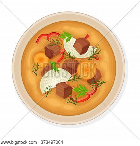 Uzbek Traditional Dish Of Meat Slabs And Vegetable Top View Vector Illustration