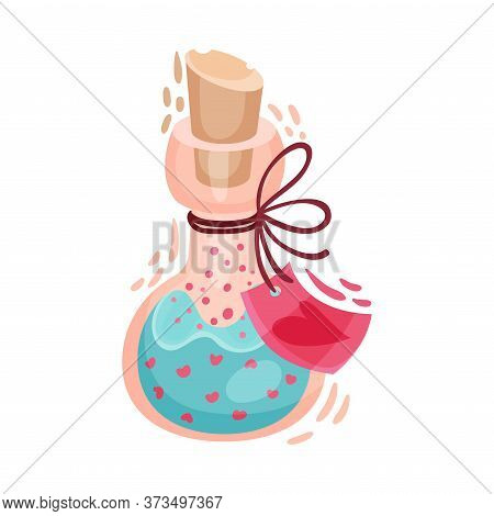 Fairy Flask With Love Potion Inside As Saint Valentine Day Symbol Vector Illustration