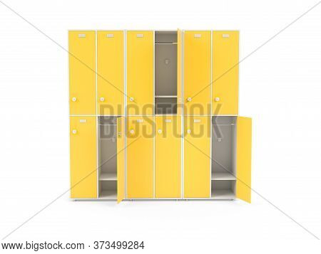 Yellow Lockers. Two Row Section Of Lockers For Schoool Or Gym. 3d Rendering Illustration Isolated On