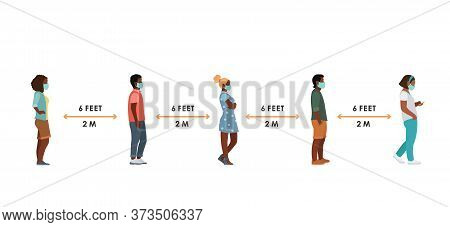 People In Medical Masks Are Black Women And Men Full Height Standing In Queue At A Safe Distance Sid