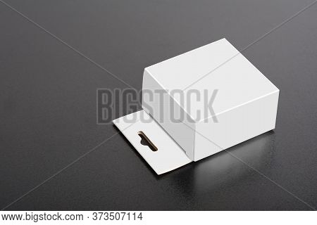 White Box With Hanger On Dark Ground, Editable Mock-up Series Template Ready For Your Design-selecti