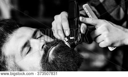 Hairstylist Serving Client At Barber Shop. Vintage Barbershop, Business. New Perfect Style. Beard St