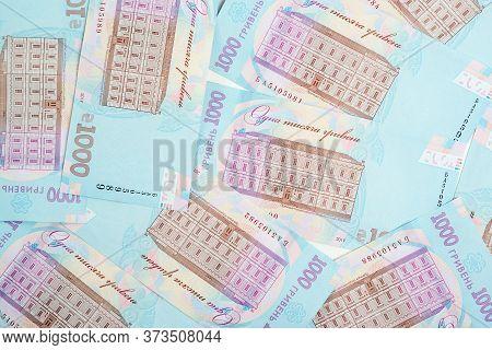 Ukrainian Money Background. 1000 Hryvnia Banknotes. Ukrainian Inflation And Economical Crisis. Excha