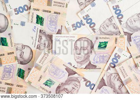 Ukrainian Money Background. 500 Hryvnia Banknotes. Ukrainian Inflation And Economical Crisis.cash Mo