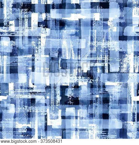 Abstract Grunge Cross Geometric Shapes Contemporary Art Blue Color Seamless Pattern Background. Wate