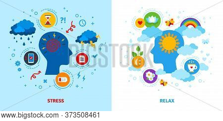 Mental Stress And Relax Concept. Vector Illustration. Anger, Negative Or Positive Mind, Emotional Tr