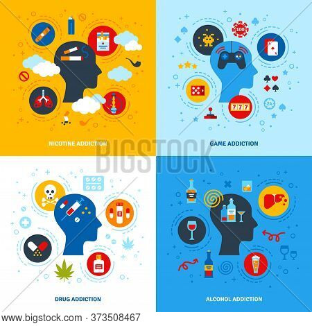 Flat Design Vector Illustration Concepts Of Nicotine, Game, Alcohol, Drug Addictions. Human Head Fla