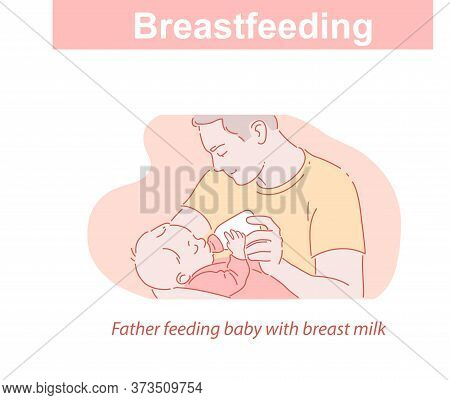 Feeding With Breast Milk. Father Feeding Baby With Bottle