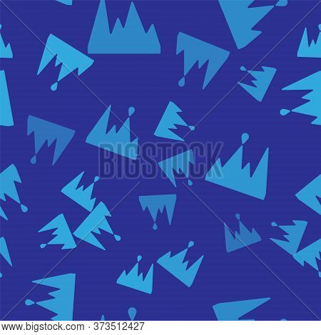 Blue Icicle Icon Isolated Seamless Pattern On Blue Background. Stalactite, Ice Spikes. Winter Weathe
