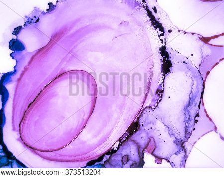 Spring Alcohol Ink Background. Ink Paint Texture. Violet Tones Marble Stone Texture. Magenta Aquarel