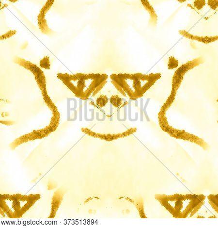 Liquid Artistic Painting. Ivory, Yellow Dyed Batik Style. Golden Fabric Printed Texture. Batik Water