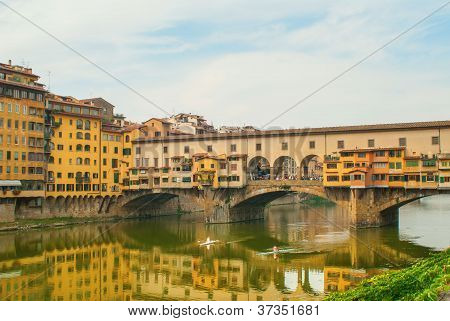 Rowing on the Arno River in Florence poster