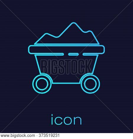 Turquoise Line Coal Mine Trolley Icon Isolated On Blue Background. Factory Coal Mine Trolley. Vector