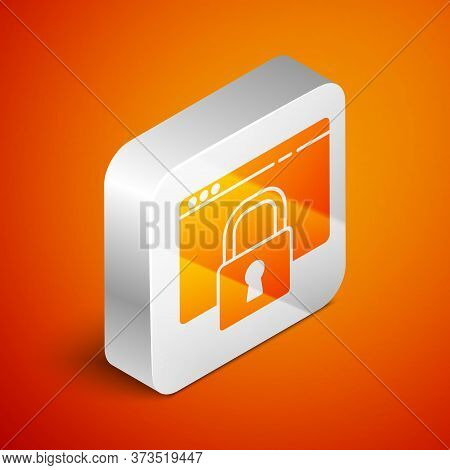 Isometric Secure Your Site With Https, Ssl Icon Isolated On Orange Background. Internet Communicatio