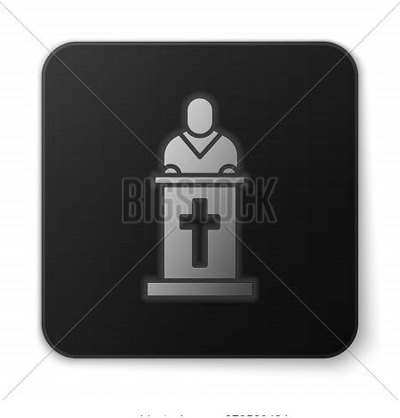 Orange Glowing Neon Church Pastor Preaching Icon Isolated On White Background. Black Square Button.