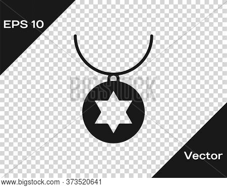 Black Star Of David Necklace On Chain Icon Isolated On Transparent Background. Jewish Religion. Symb