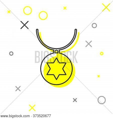 Grey Line Star Of David Necklace On Chain Icon Isolated On White Background. Jewish Religion. Symbol
