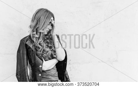 Young Girl Is Depressed Thoughts About Suicide Problems In Her Personal Life, Negative Emotions . Pr