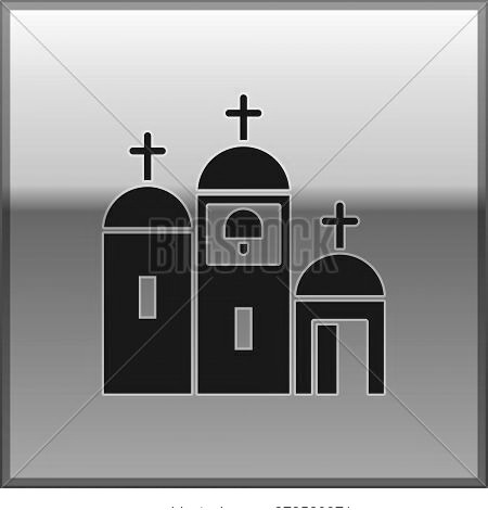 Black Church Building Icon Isolated On Gold Background. Christian Church. Religion Of Church. Vector