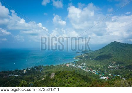 Tropical island in Thailand. View of Sairee village from West Coast Viewpoint Koh Tao