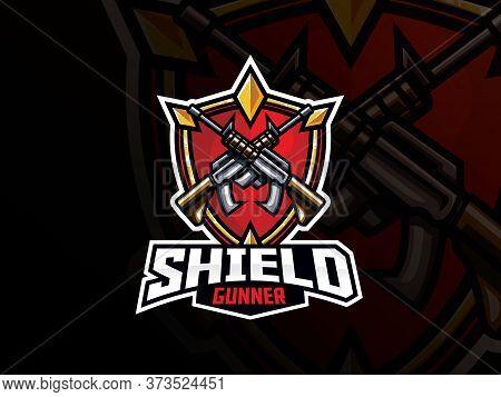 Shield And Guns Sport Logo Design. Guard And Gunner Emblem Vector Illustration. Shield And Weapon Sy