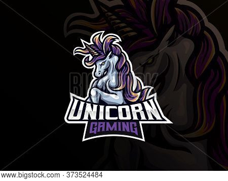 Unicorn Mascot Sport Logo Design. Unicorn Horse Mascot Vector Illustration Logo. Mythology Unicorn M