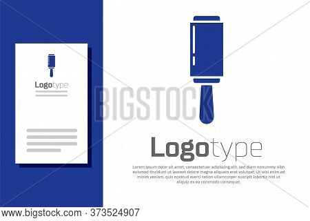 Blue Adhesive Roller For Cleaning Clothes Icon Isolated On White Background. Getting Rid Of Debris,